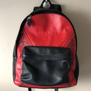 Authentic COACH red/black laptop leather backpack